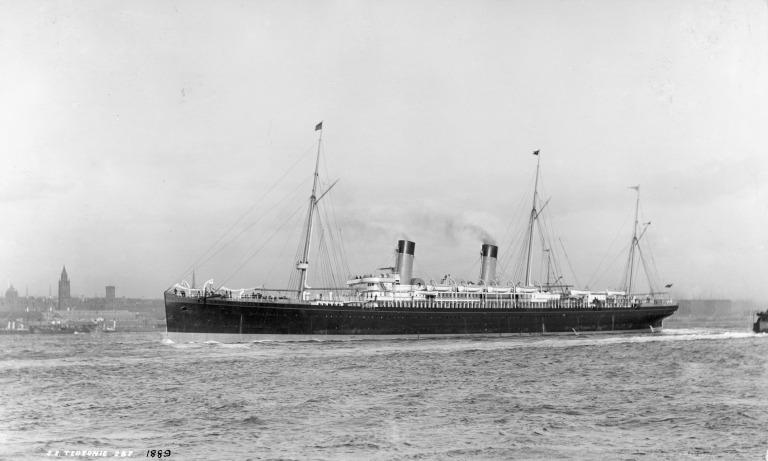 Photograph of Teutonic, White Star Line card
