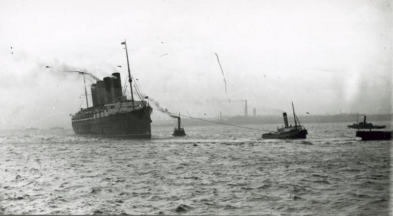 Photograph of Unidentified four funnel cunarder on tow in Mersey, Cunard Line card