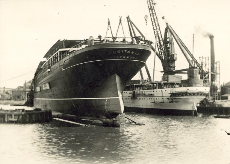 Lusitania, Cunard Line card