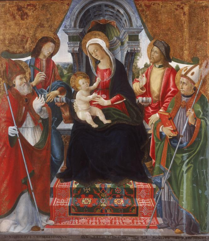 Madonna and Child with Saints Nicholas, Sebastian, Roch and Martin card