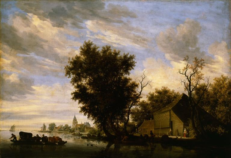 River Scene with a Ferry Boat card