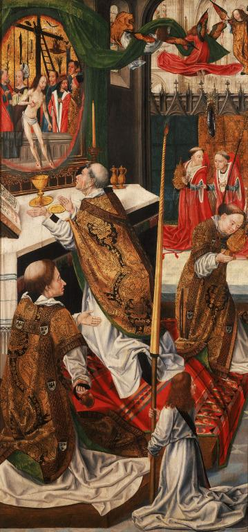 The Crucifixion Altarpiece: The Mass of St. Gregory (Reverse of Left Wing) card