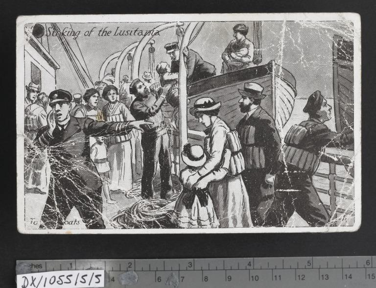"""Postcard commemorating the sinking of the Lusitania, """"To the lifeboats"""" card"""