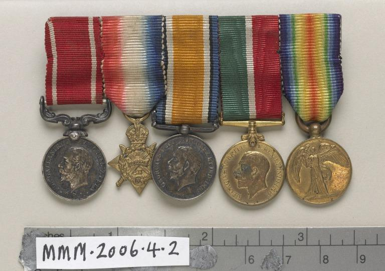 Set of five miniature medals on one band card