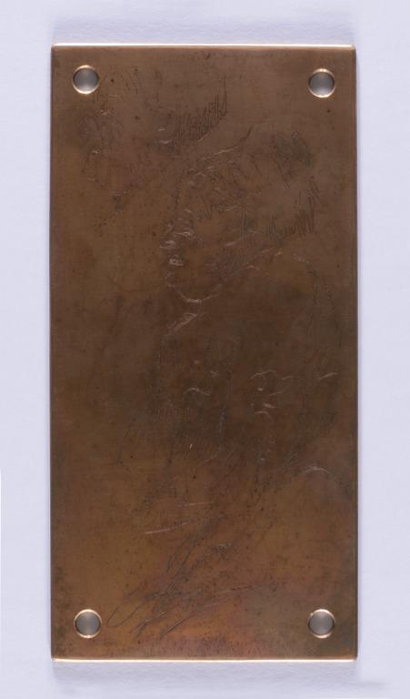 """Copper Printing Plate for 'Mrs Theodore Wright as """"Mrs Alving"""" in """"Ghosts""""' card"""