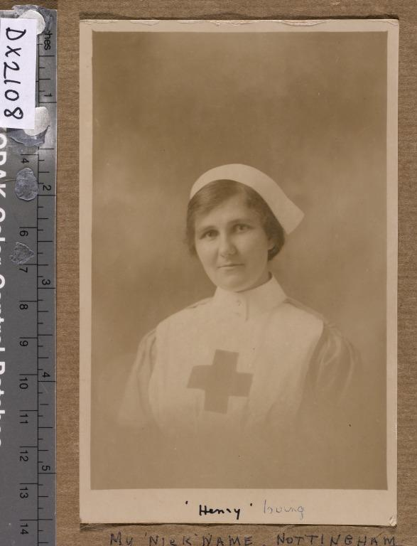 Scrap book and papers belonging to Florence Irving, nurse in World War I. card