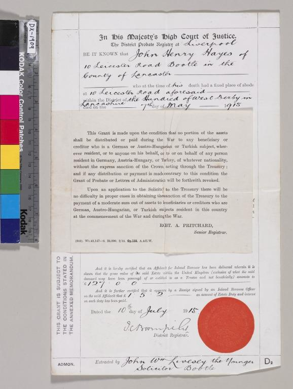 Papers relating to John Henry Hayes, ship engineer card