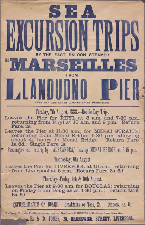 Poster advertising excursion on the paddle steamer Marseilles. card