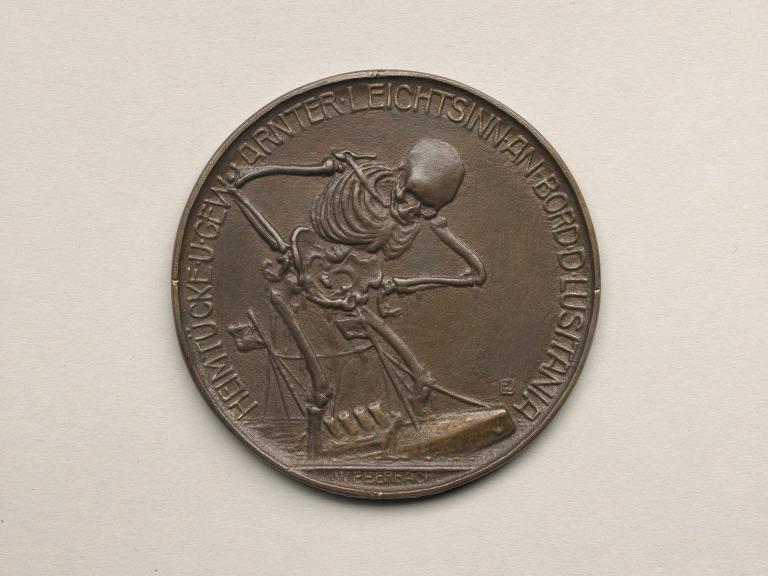 German Lusitania medallion showing Death bestriding RMS Lusitania ('Dance of Death' series) card