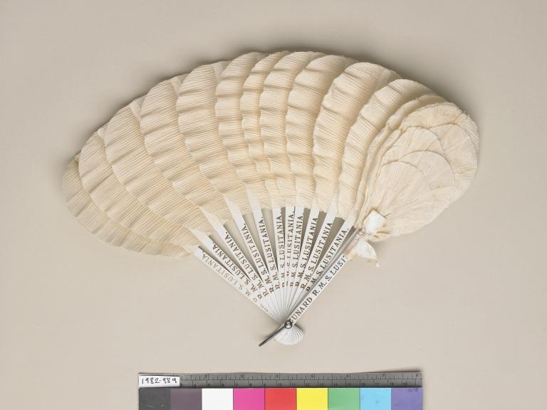 Lady's paper fan from RMS Lusitania card