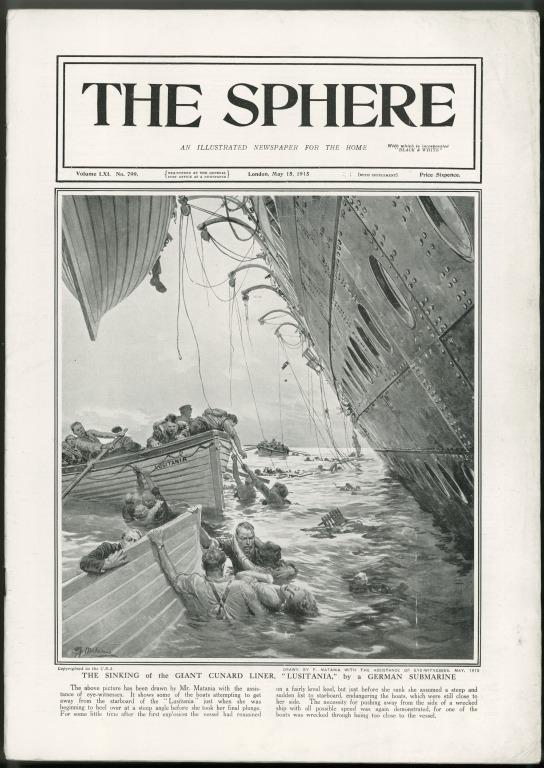 Issue of the Sphere re sinking of Lusitania, Cunard, 1915. card
