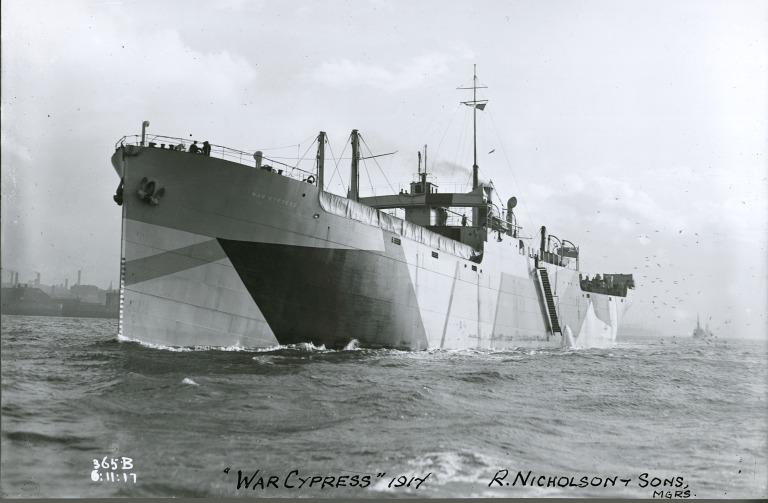 Photograph of War Cypress, R Nicholson and Sons (for The Shipping Controller) card