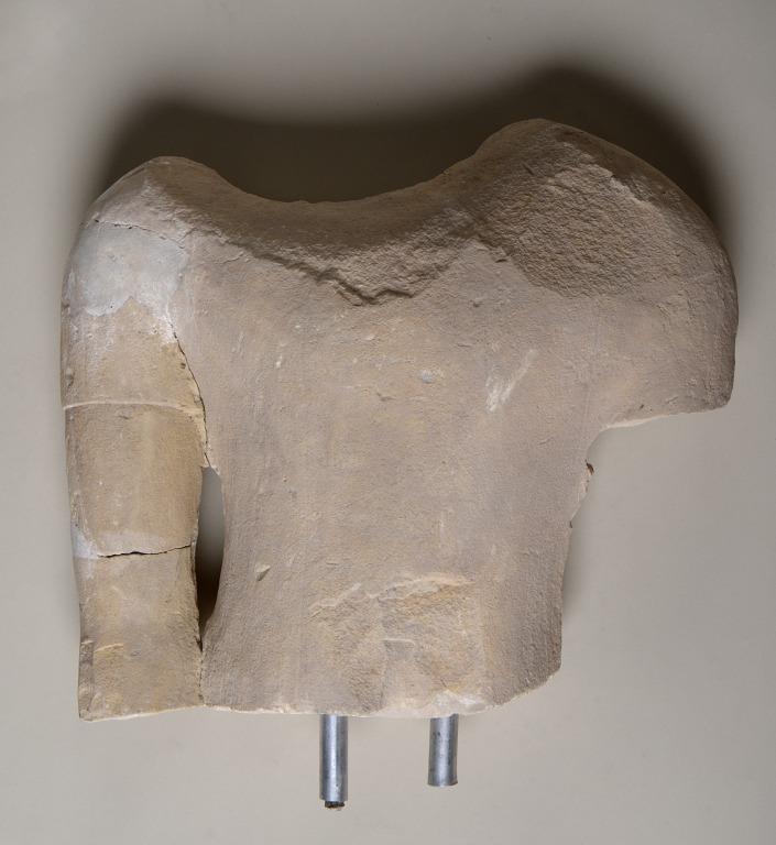 Torso from a male votive statue card