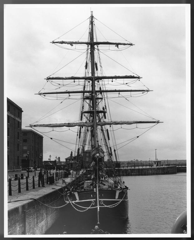 Photograph of sailing vessel in Canning Half Tide Dock, Liverpool card