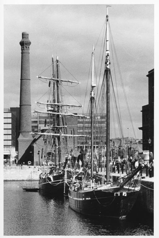 Photograph of sailing vessels in Canning Half Tide Dock, Liverpool card