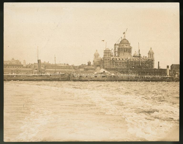 Photograph of the Mersey showing the Port of Liverpool Building under construction card