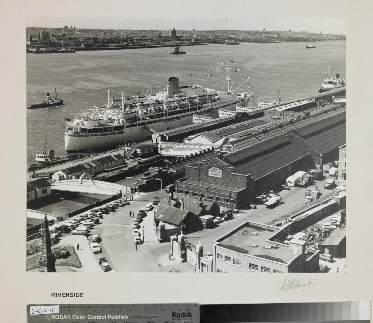 Photograph entitled 'Riverside', showing the Landing Stage, Liverpool card