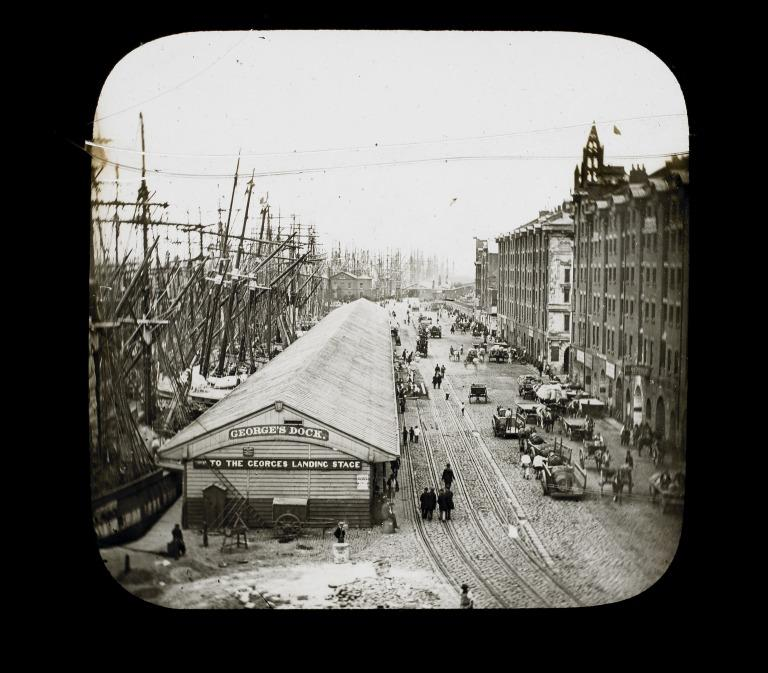 Glass lantern slide view of George's Dock, Liverpool card