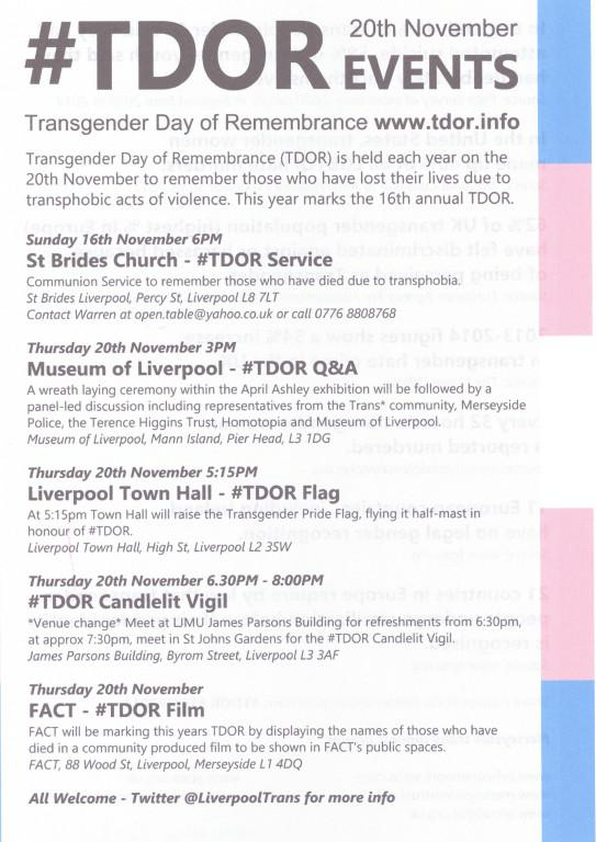 Transgender Day Of Remembrance Events card