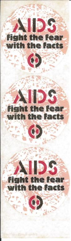 Sticker set, 'AIDS fight the fear with the facts' 1988 card
