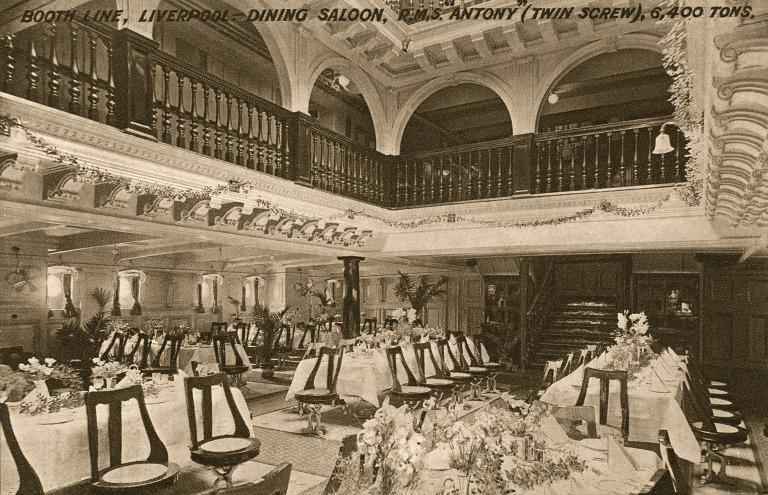 Postcard, Dining saloon, Antony, Booth Line card