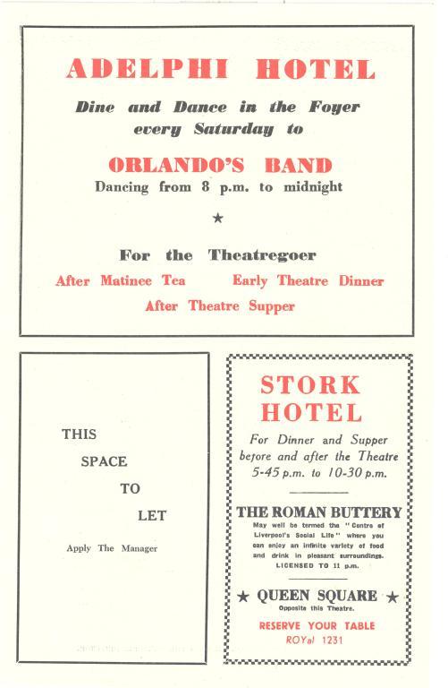 Programme, 'Royal Court Theatre' card