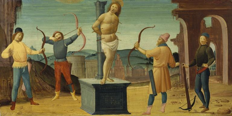 Martyrdom of St. Sebastian card
