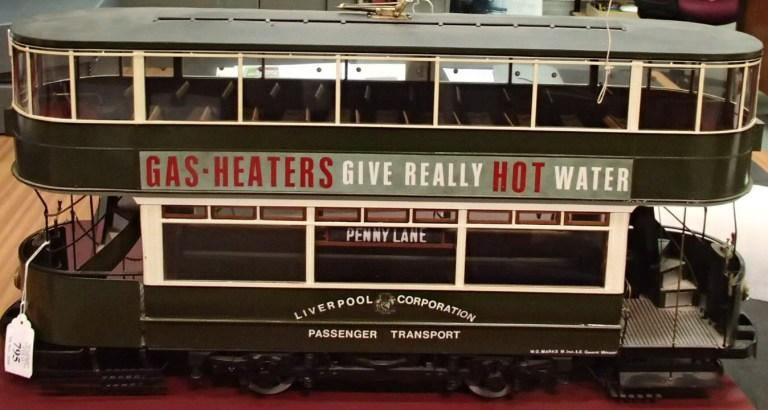 1/16 scale model of Liverpool tramcar 752 card