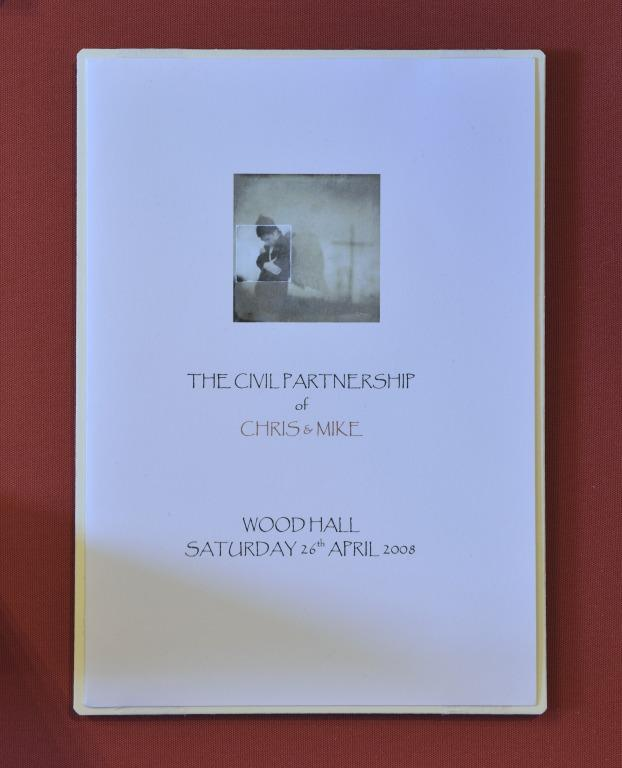 Order of Service, 'The Civil Partnership of Chris & Mike, Wood Hall, Saturday 26th April 2008'. card