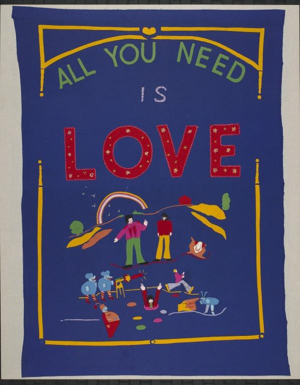 'All You Need is Love' bedspread card