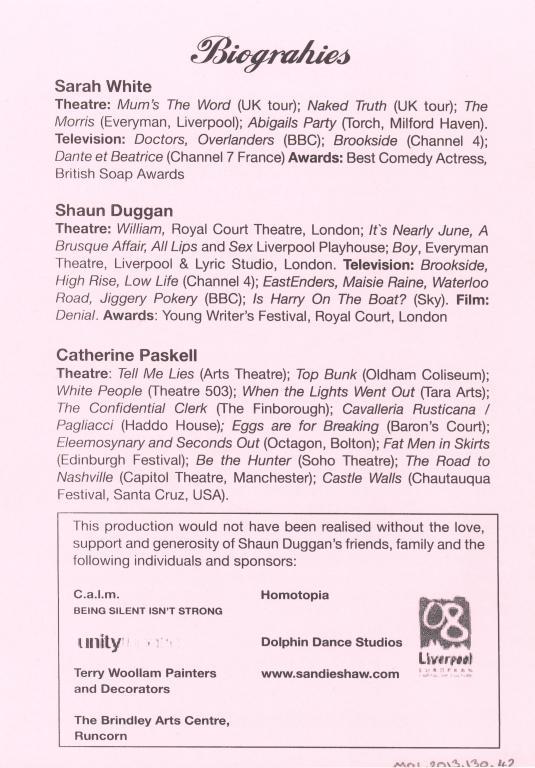 Programme, 'Drama Queen' card