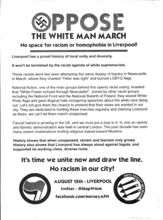 Flyer, 'Oppose The White Man March' 2015 card