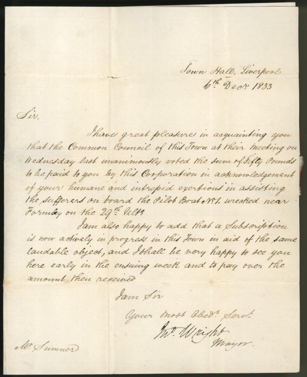 Letter to Mr Sumner, surgeon. card