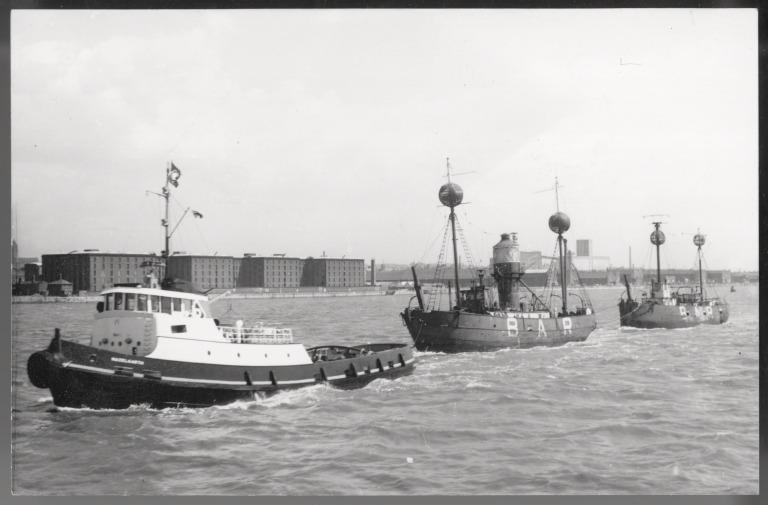 Photograph of Hazelgarth (tug) Towing Two Bar Lightships Out Towards the Bar card