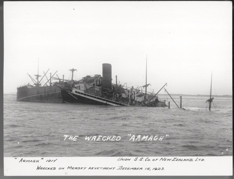 Photograph of Armagh, Union Steam Ship Company of New Zealand card
