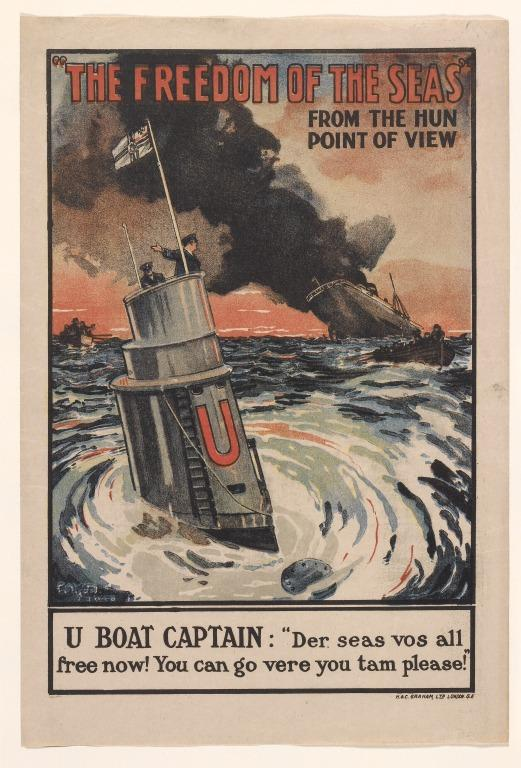 British First World War propaganda poster ' The Freedom of the Seas from the Hun Point of View'. card