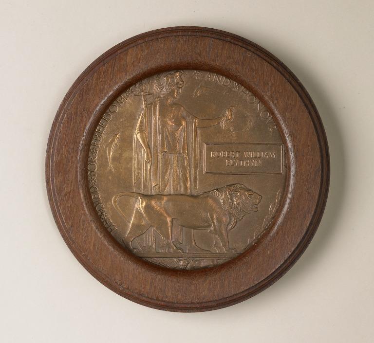 Next of kin memorial plaque - Robert Blythyn card