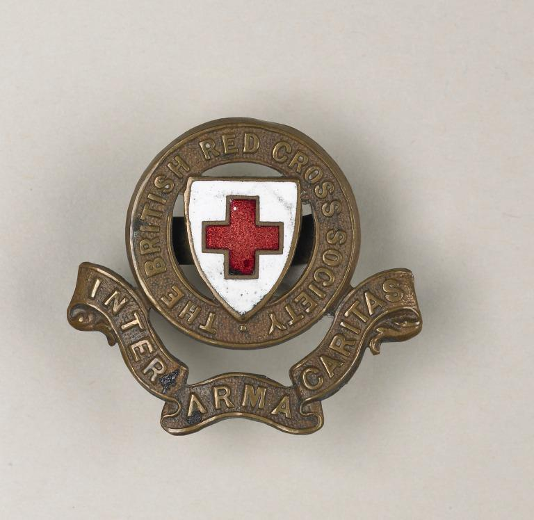 British Red Cross Society ' Inter Arma Caritas' badge awarded to Florence Irving card