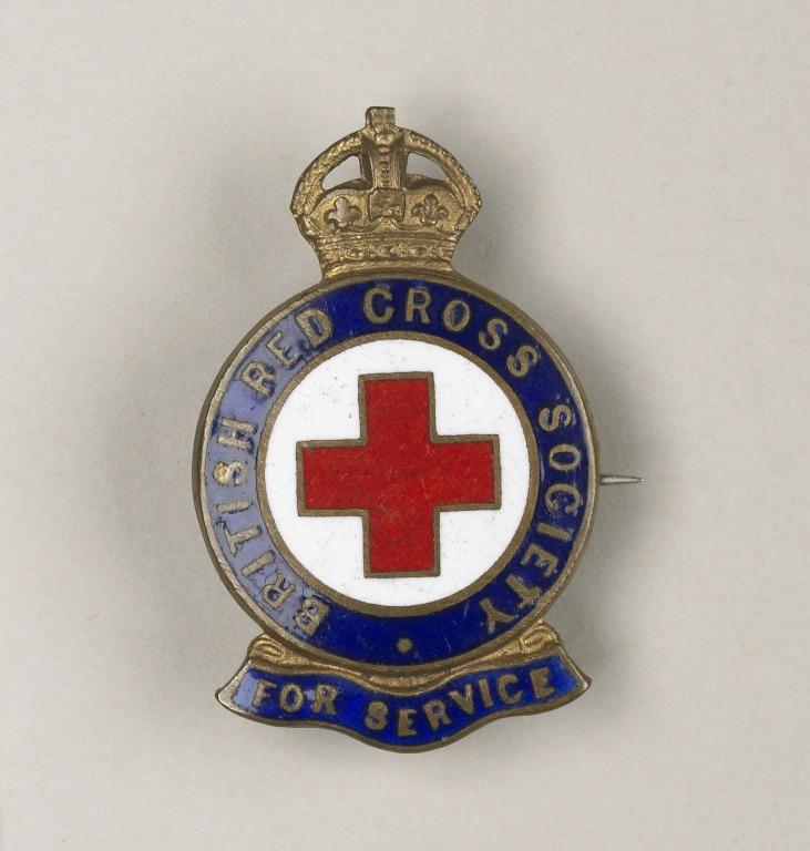 British Red Cross Society 'For Service' badge awarded to Florence Irving card