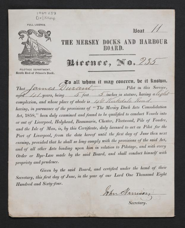 Pilots licence issued by Mersey Docks and Harbour Board (MDHB) to James Durant of Liverpool, 1 Jun 1864 for Pilot Boat 11. card
