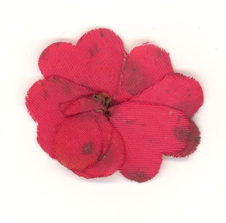 Red flower flag card