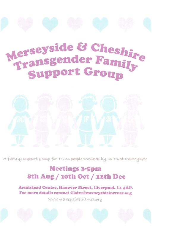 Flyer, 'Merseyside and Cheshire Transgender Family Support Group' card