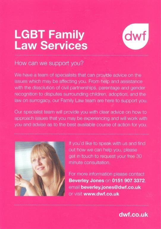Leaflet, 'LGBT Family Law Services' card