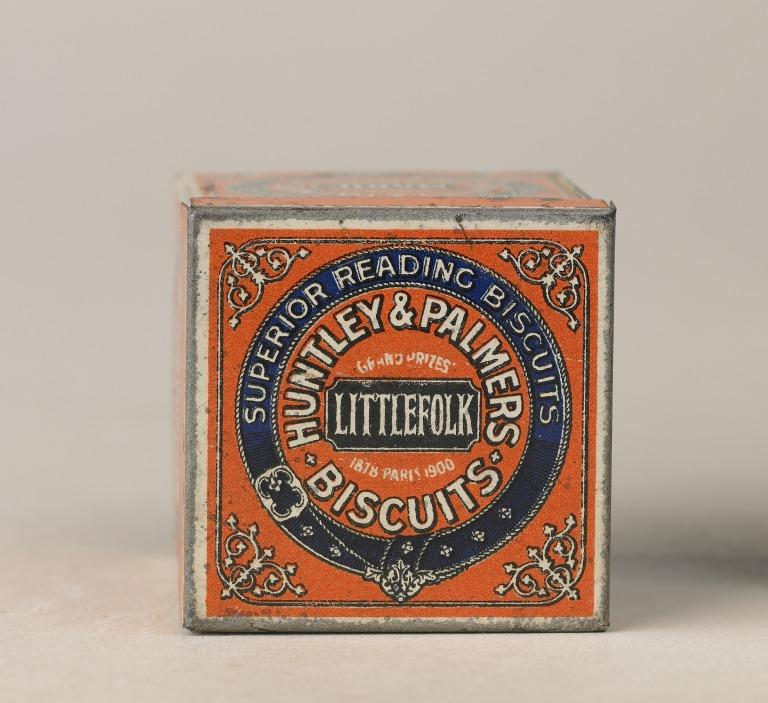 Tin, 'Huntley & Palmers Biscuits'. card