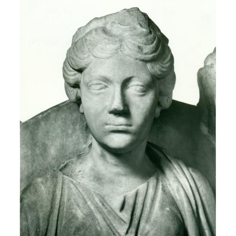 Grave Portrait of Woman with the attributes of Fortuna card