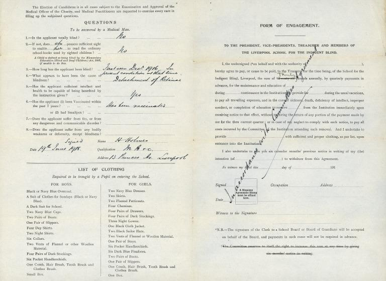 The School for the Blind Liverpool application form card