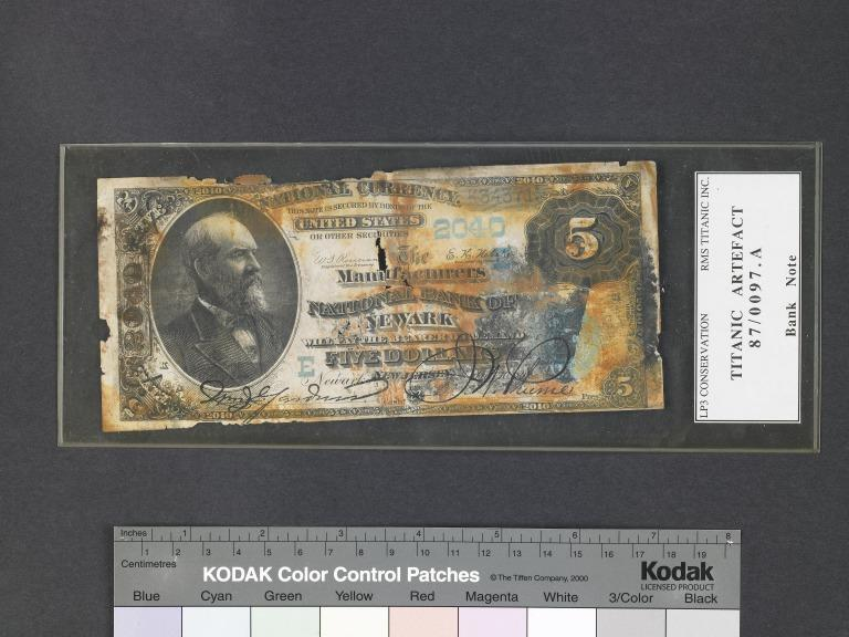American five dollar bank note from Titanic wreck site card