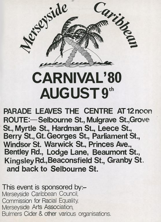 'Merseyside Caribbean Carnival '80 August 9th' card