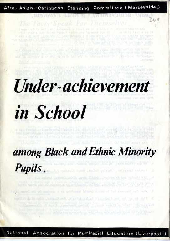 Report - Under-achievement in School among Black and Ethnic Minority pupils. card