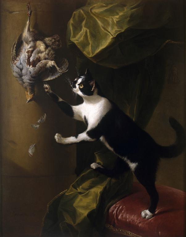 Cat with Game Bird card